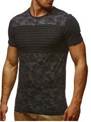 Stripes Camouflage Print Short Sleeves Casual T-shirt -