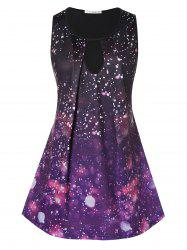 Plus Size 3D Galaxy Print Keyhole Swing Tank Top -