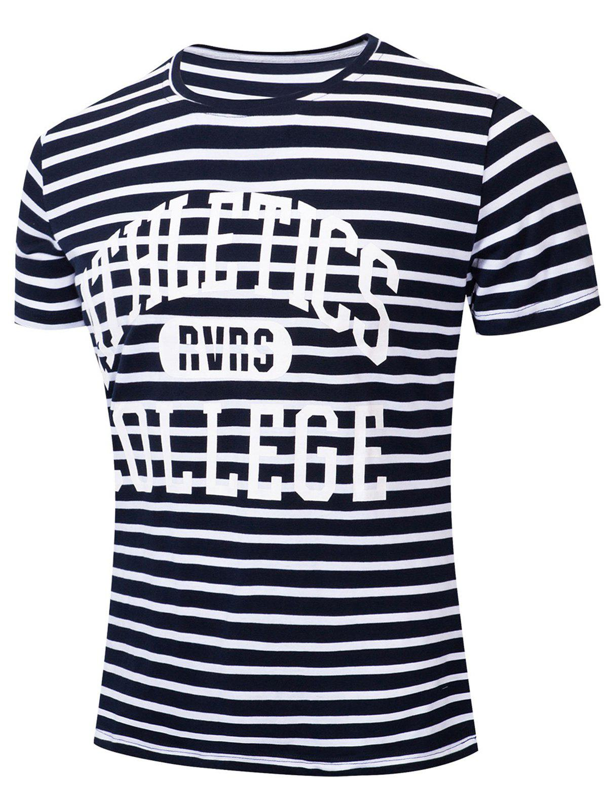 Shop Casual Letter Striped Printed Short Sleeve T-shirt