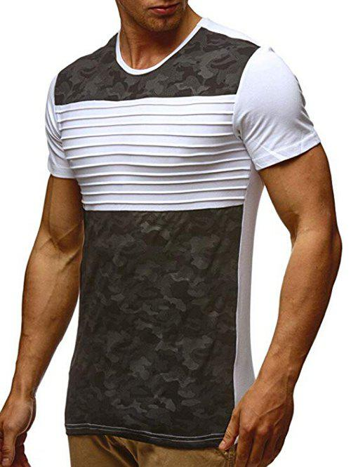 Outfit Stripes Camouflage Print Short Sleeves Casual T-shirt
