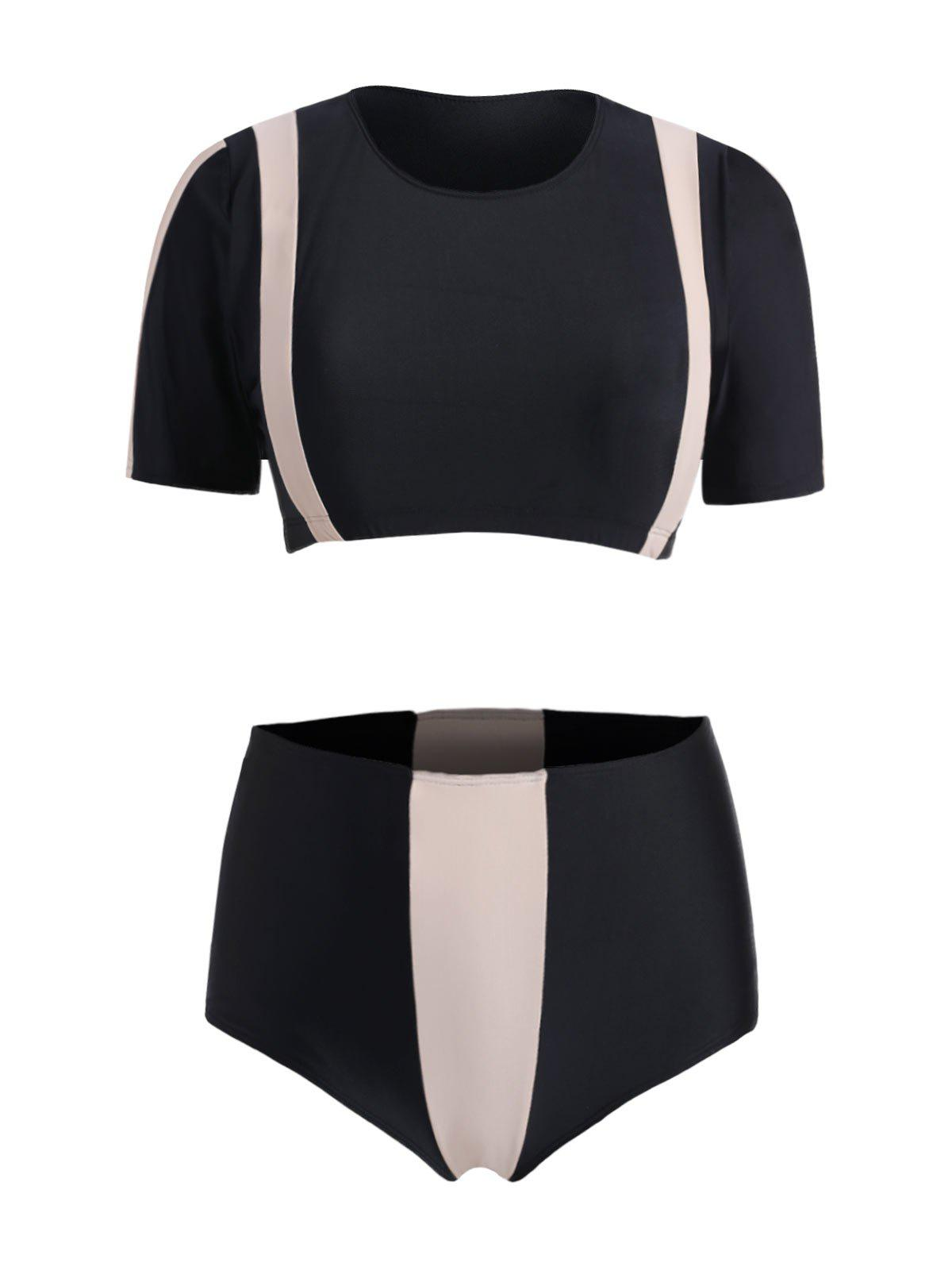 Chic Plus Size Color Block High Waist Two Piece Swimsuit