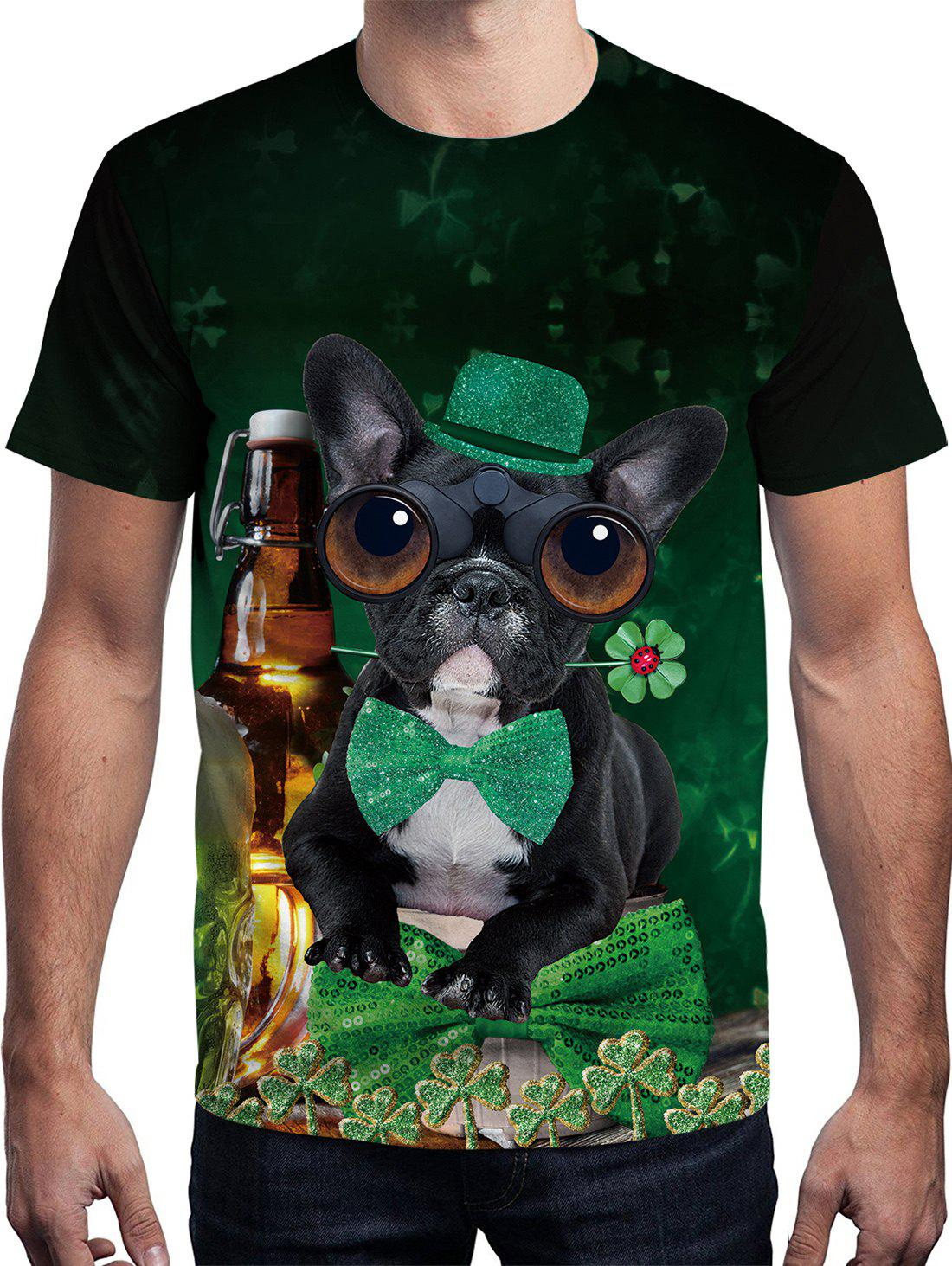 Buy 3D Dog Printed Short Sleeve T-shirt