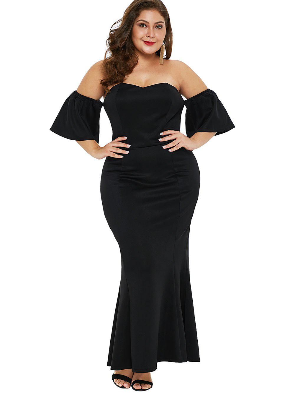 Fashion Short Sleeve Plus Size Off The Shoulder Mermaid Dress