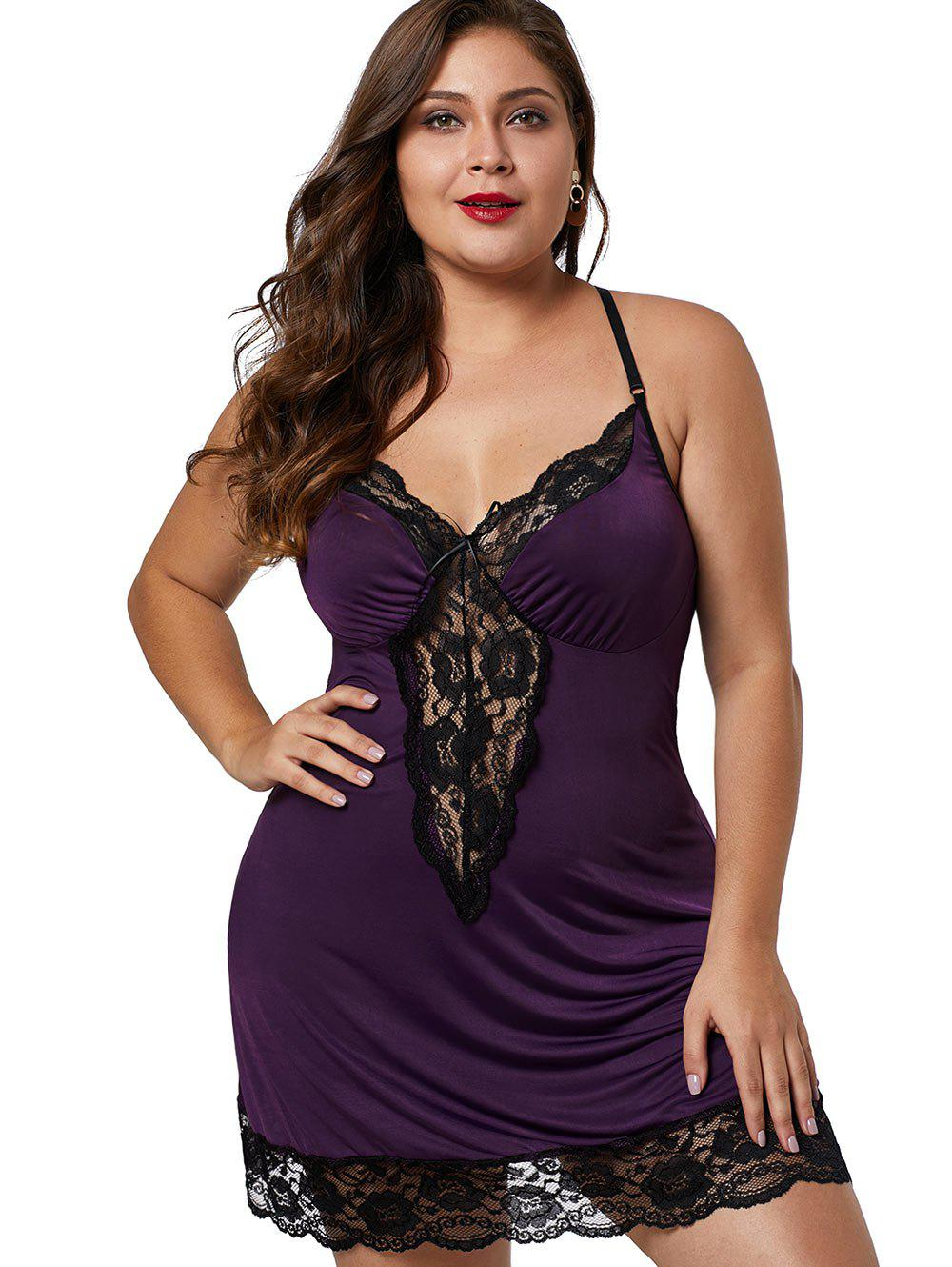 9c9f8395c2b 39% OFF  Lace Hem See Through Plus Size Babydoll