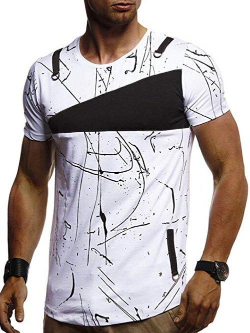 Best Short Sleeves Lines Panel Casual T Shirt