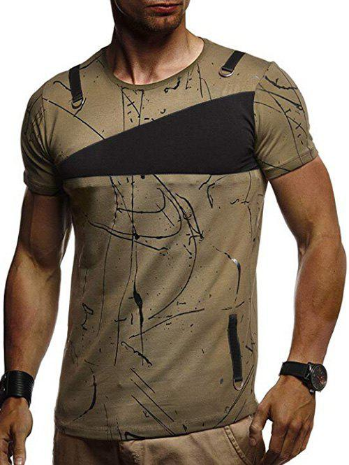 Shops Short Sleeves Lines Panel Casual T Shirt