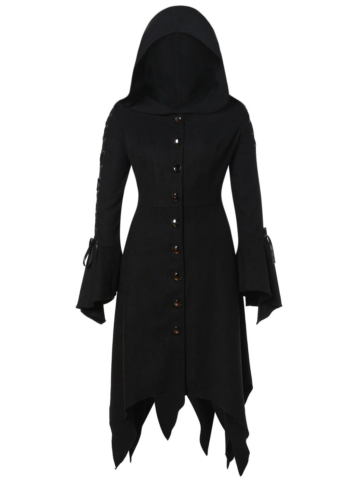 Fancy Hooded Lace Up Asymmetrical Plus Size Coat