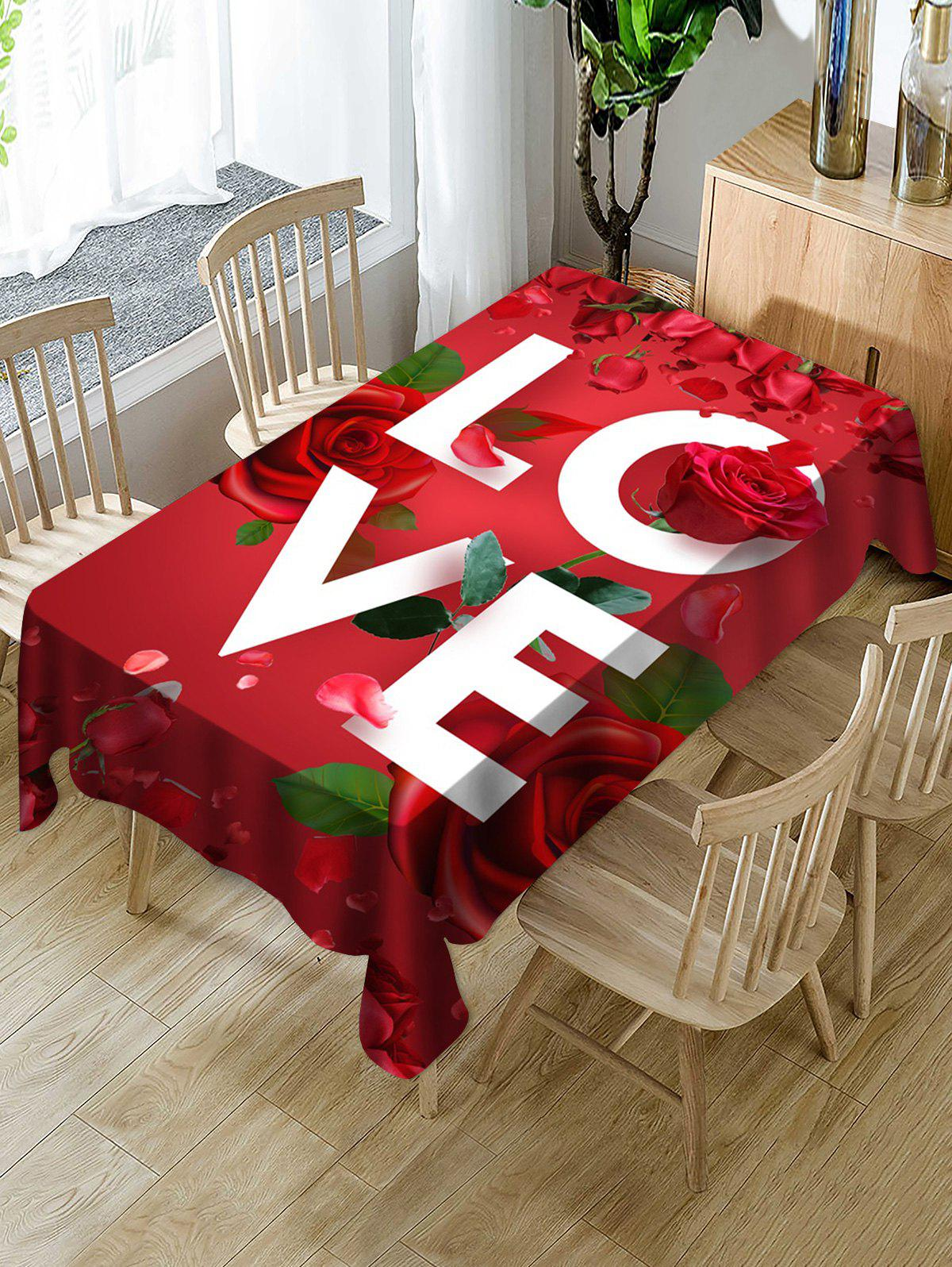 Chic Valentines Day LOVE Rose Print Fabric Waterproof Tablecloth