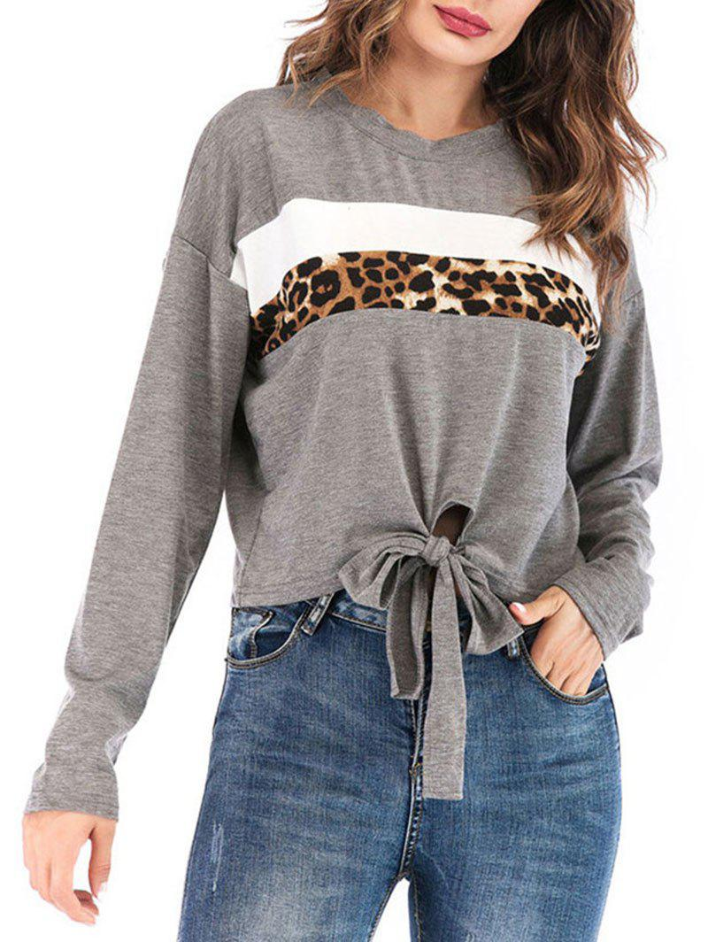 Latest Leopard Print Knotted Long Sleeve Top