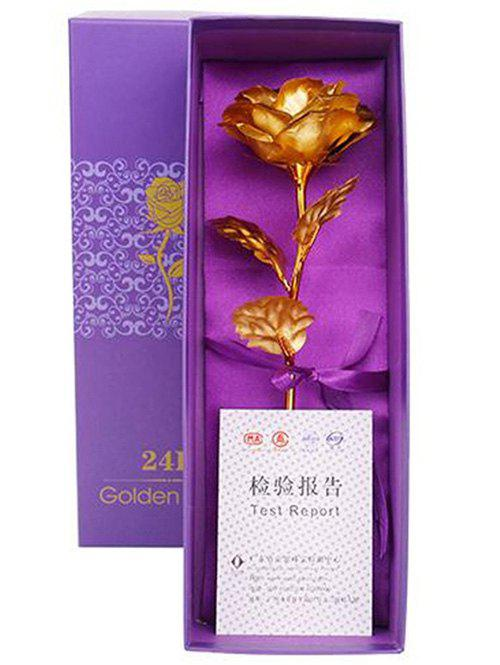 Store Valentines Day Gift Artificial Plated Rose Flower In A Box