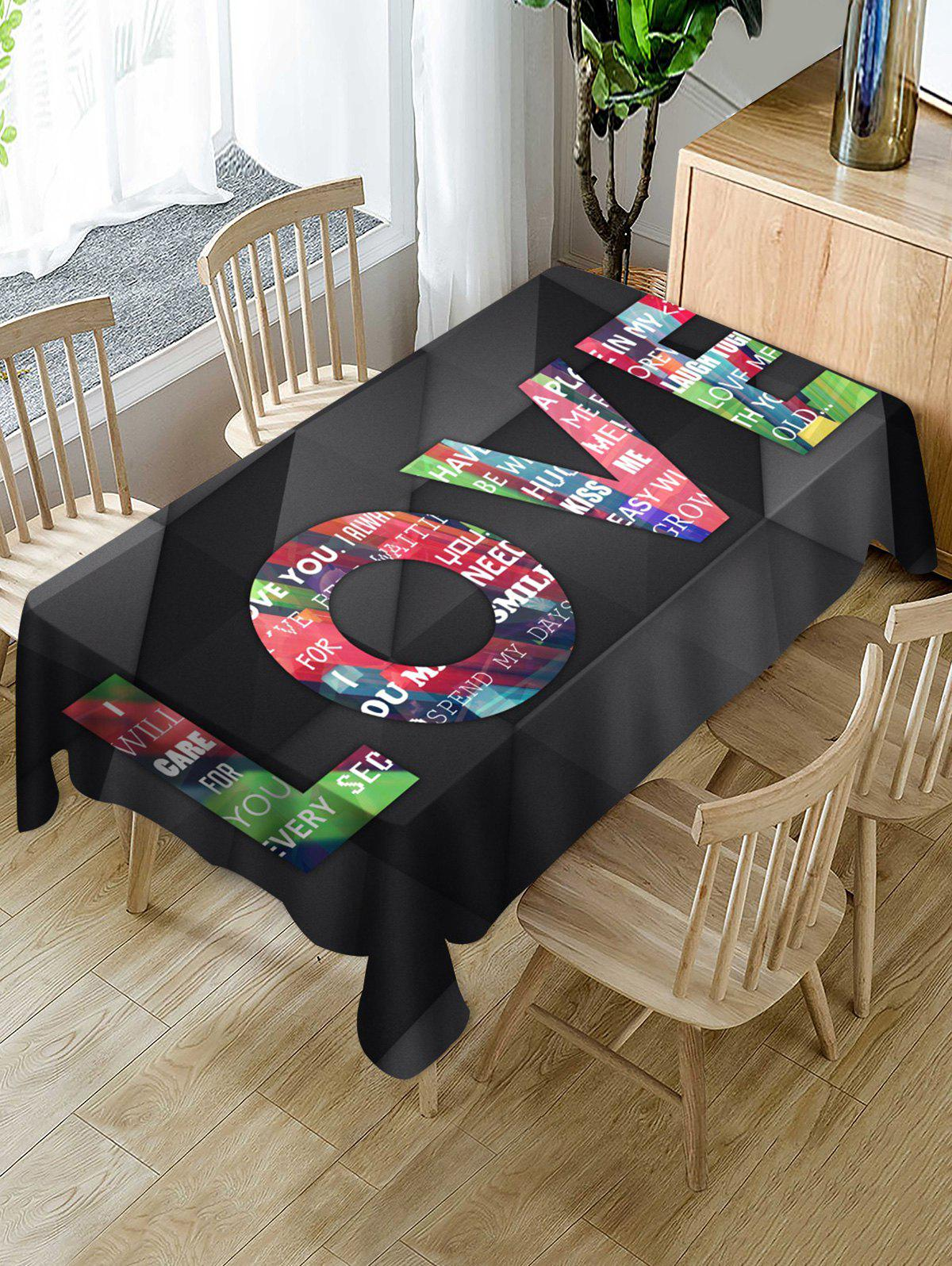 Fashion Valentines Day LOVE Print Fabric Waterproof Tablecloth