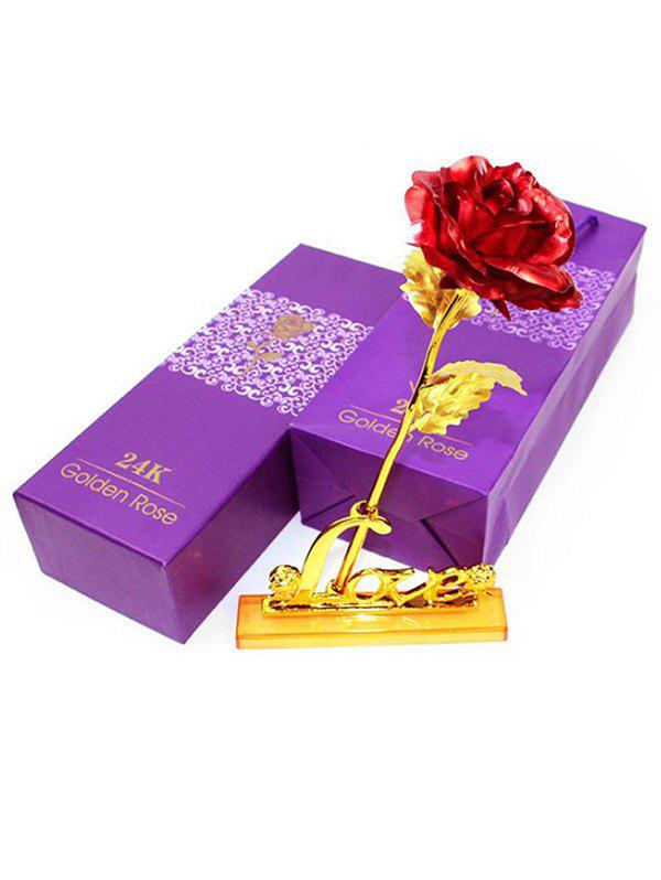 New Plated Artificial Rose Flower and Holder In A Box