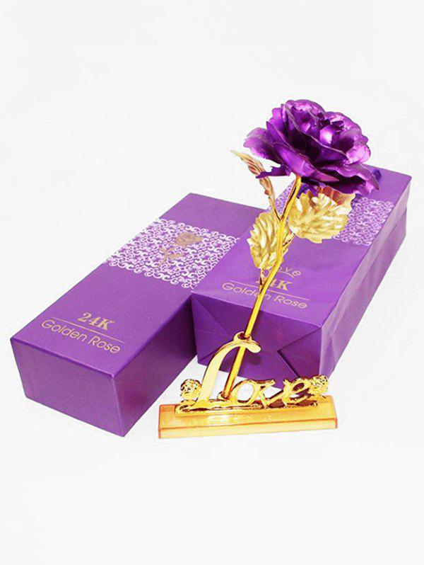 Cheap Plated Artificial Rose Flower and Holder In A Box