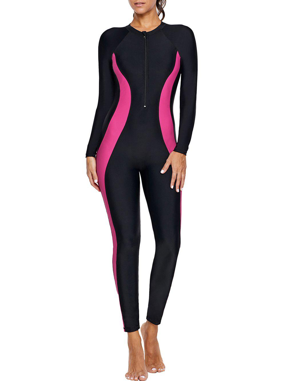 Shops Contrast Color Zip Long Sleeve Swimsuit