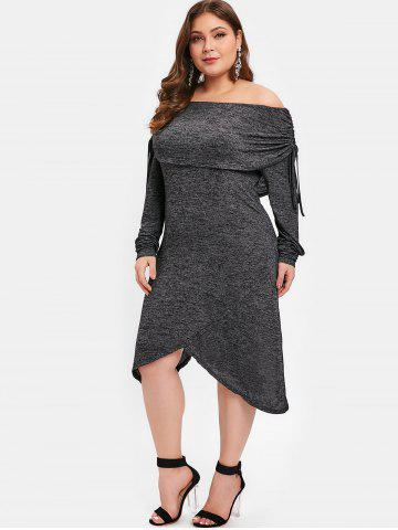 Plus Size Cinched Long Sleeves Asymmetric Dress