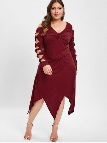 Plus Size Cut Out Knotted Handkerchief Dress