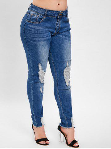 e085e375f6f 2019 Plus Size Drawstring Jeans With Ripped
