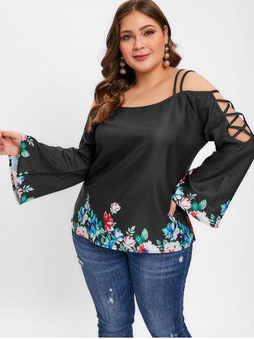 Plus Size Long Sleeve Floral Print Blouse