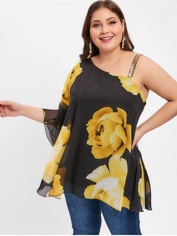 Floral Print Plus Size Sequin Embellished Blouse