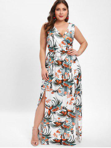 Plunge Plus Size Floral Print Maxi Dress cc4521f8a