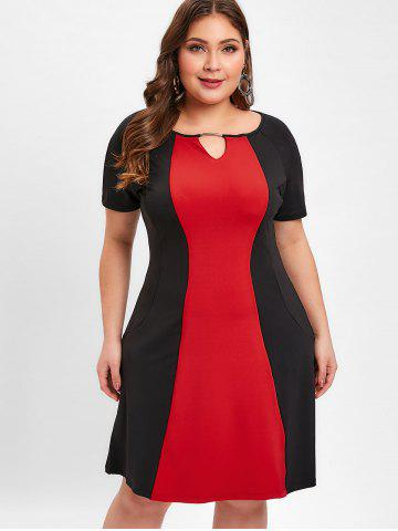 Two Tone Plus Size Keyhole Neck Shift Dress