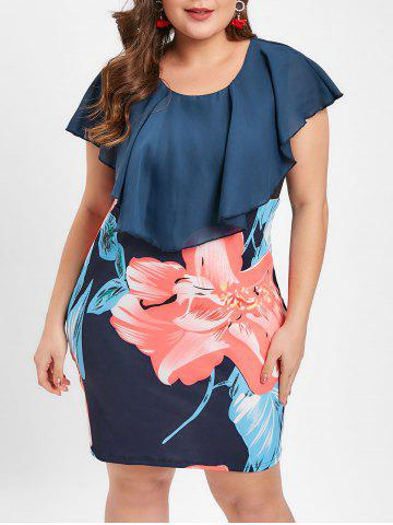 c02c22b290d57 Plus Size Ruffle Flower Bodycon Dress