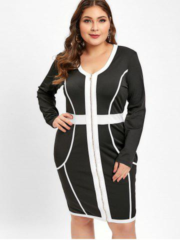 Plus Size Zip Front Long Sleeves Two Tone V Neck Bodycon Dress