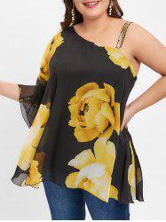 Floral Print Plus Size Sequin Embellished Blouse -
