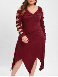Plus Size Cut Out Knotted Handkerchief Dress -