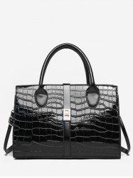 Striped Leather Glossy Pattern Tote -