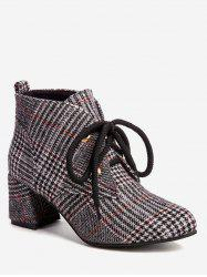 Chunky Heel Plaid Ankle Boots -
