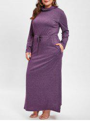 Cowl Neck Plus Size Drawstring Waist Maxi Dress -
