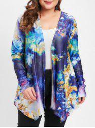 Abstract Pattern Plus Size Open Front Jacket -