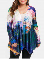 Open Front Plus Size Tie Dye Jacket -