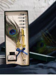 Peacock Feather Quill Pen and Ink In A Box -