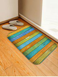 Colorful Wooden Board Print Flannel Area Rug -