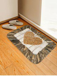 Wooden Heart Print Flannel Area Rug -