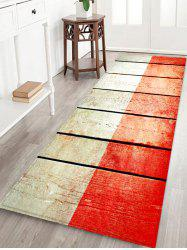 Two Tone Wooden Board Print Flannel Area Rug -