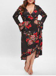 Plus Size Bell Sleeve Floral Ruffled Midi Dress -