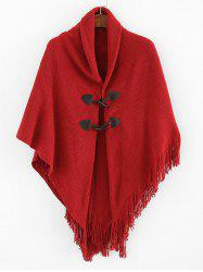Buttons Fringe Solid Cape -