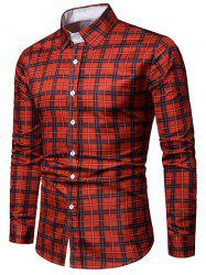 Long Sleeves Casual Plaid Printed Shirt -