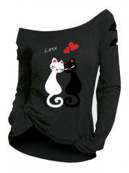 Plus Size Cut Out Sleeve Cat Print T Shirt -