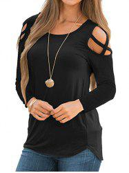 Long Sleeve Cut Out Solid Top -