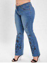 Plus Size Bootcut Printed Jeans -