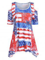 Plus Size American Flag Open Shoulder T Shirt -