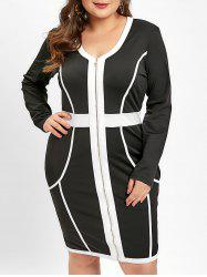 Plus Size Zip Front Long Sleeves Two Tone V Neck Bodycon Dress -