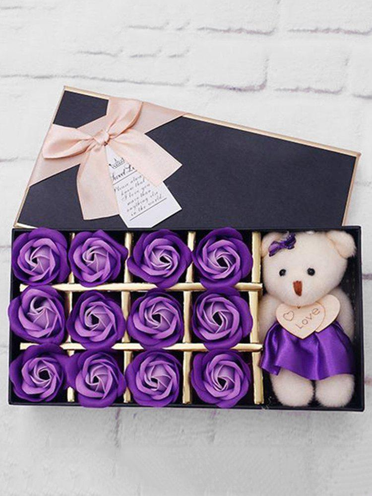 Discount 12 Pcs Valentines Day Gift Soap Rose Flowers In A Box