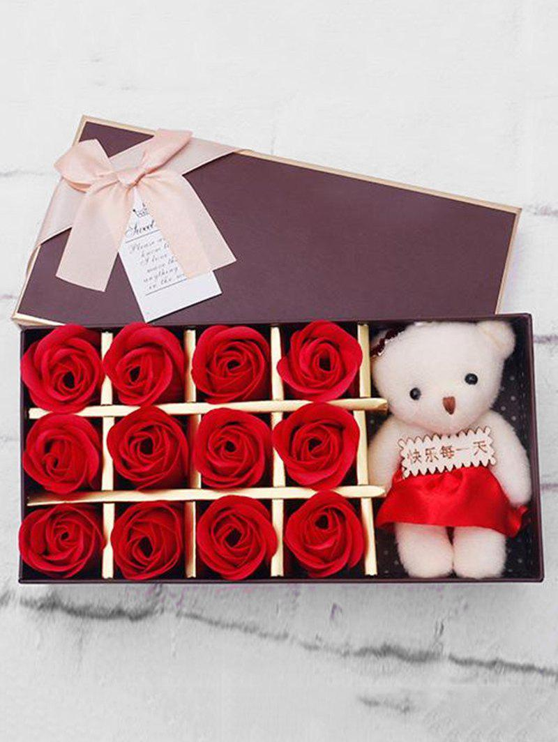 Hot 12 Pcs Valentines Day Gift Soap Rose Flowers In A Box