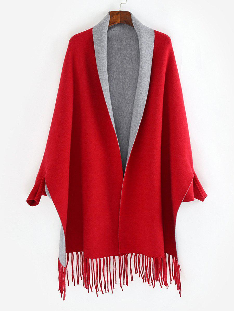 Chic Dolman Sleeve Two Tone Cape