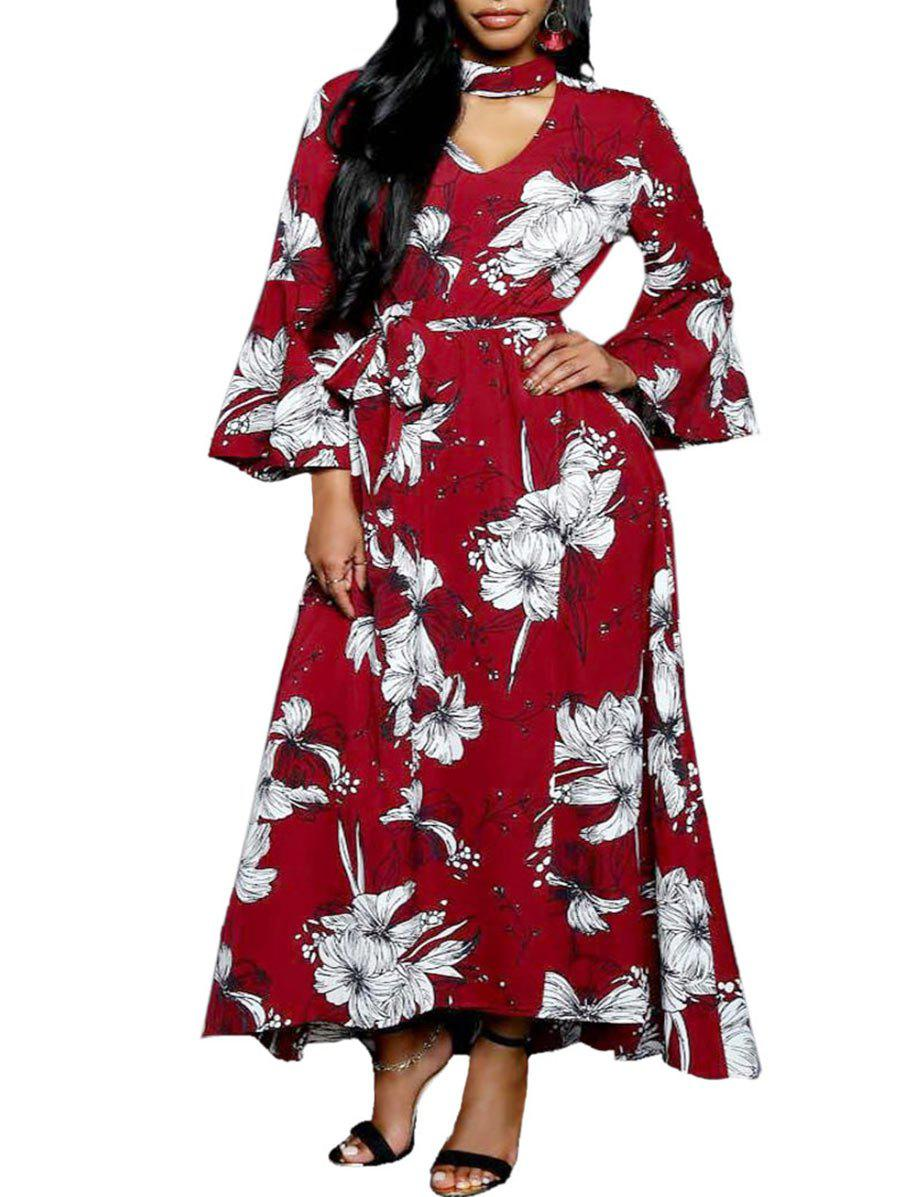 Affordable Flare Sleeve Floral Print Cut Out Dress